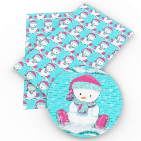 20CM X 34CM SNOWMAN CHRISTMAS SYNTHETIC PVC LEATHER FABRIC PERFECT FOR MAKING HAIR BOWS